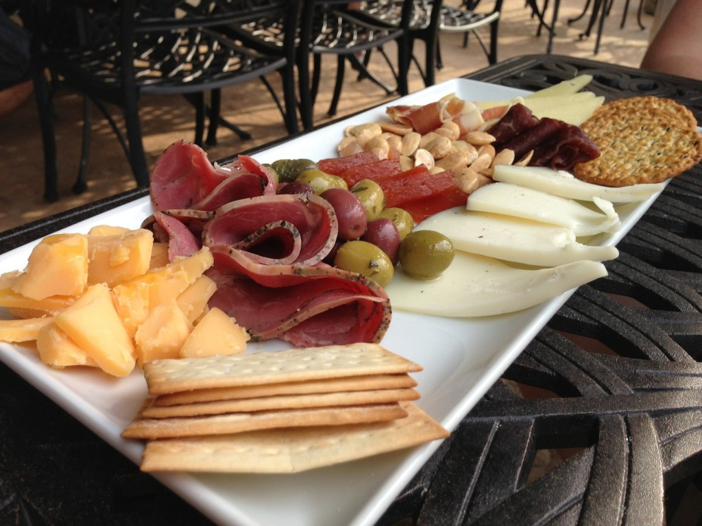 A fairly common slate of meats and cheeses, not more inventive than what you can find in a grocery store.