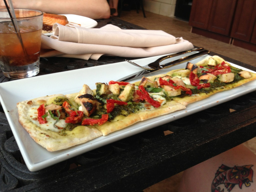 A chicken pesto pizza is nothing new but this dish could have had much more flavor.
